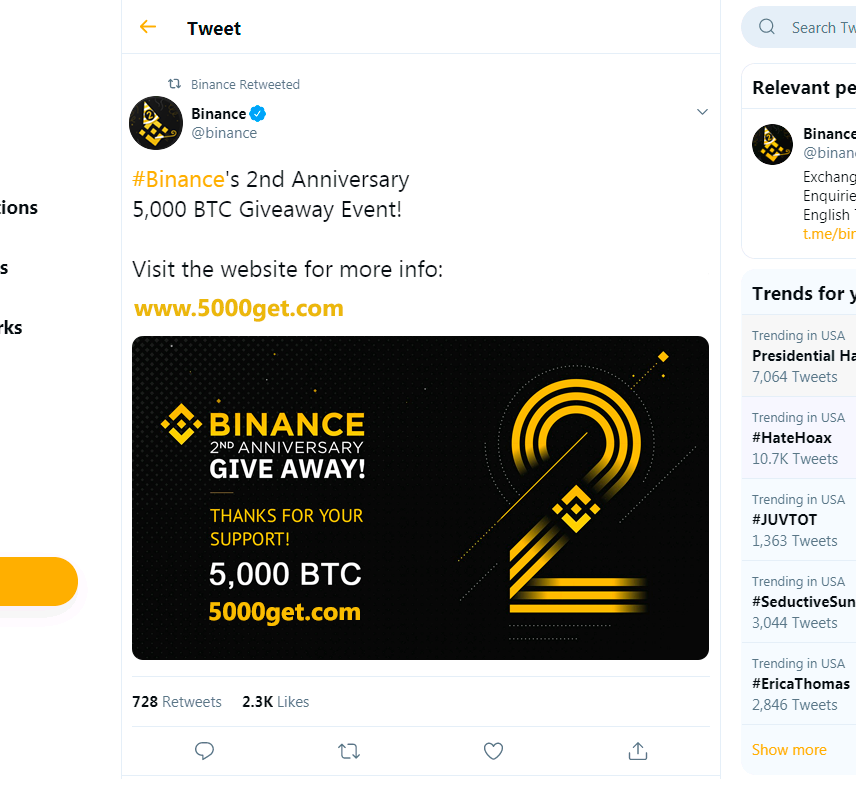 binance competition - 5,000 btc giveaway